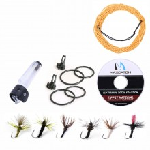 Tenkara Fly Fishing Accessory Kit - Furled Leader Line (12 ft./13 ft.), Tippet, Hook Keeper, Flies & Rod Cap